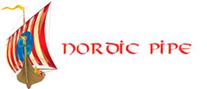 Nordic Pipe Logo. Frontalt billede af vikingeskib med firmanavn, Nordic Pipe ApS, ved siden af.